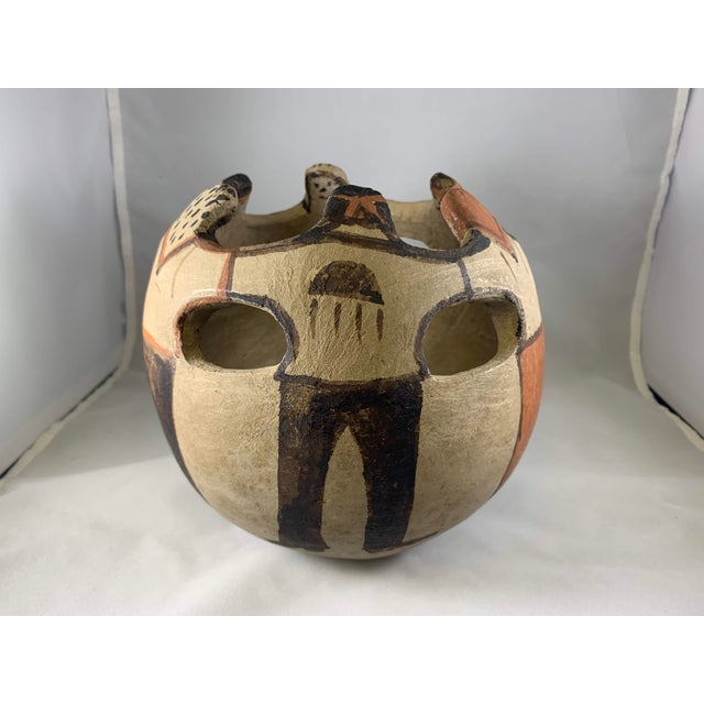 Native American Southwest Handmade and Hand Painted Papago Friendship Pottery Bowl For Sale - Image 3 of 13