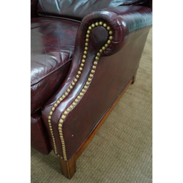 Quality Oxblood Leather Chippendale Wing Chair - Image 5 of 10