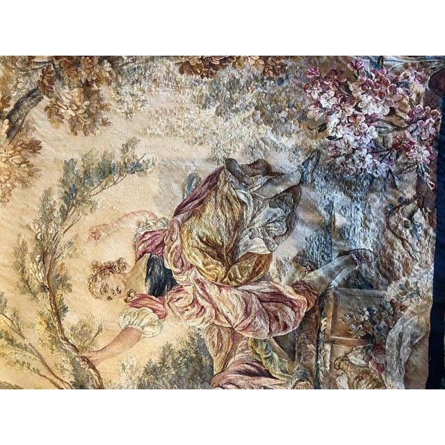 "19th Century Antique French Tapestry ""Romantic Pattern"" For Sale - Image 4 of 7"