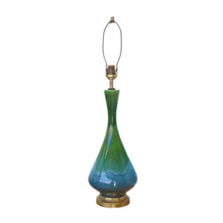 Vase Shape Art Glazed Pottery Table Lamps Green and Blue For Sale