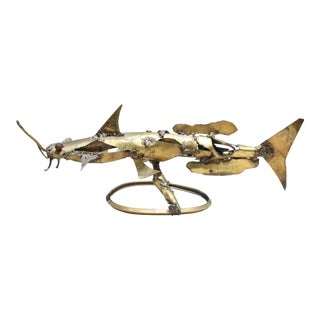 Brutalist Brass Catfish Sculpture by Artist Howard Tomashek