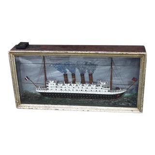 Turn of the Century Vintage Shadowbox of Titanic at Sea With Lighted Interior