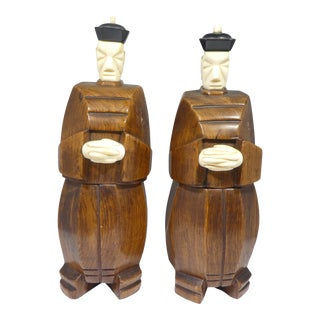 Art Deco Japanese Cubist Okimono Style Figural Storage Boxes - a Pair For Sale