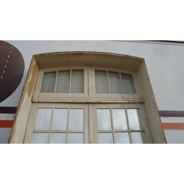 Glass Mirrored Antique French Doors With Arched Transom For Sale - Image 7 of 8