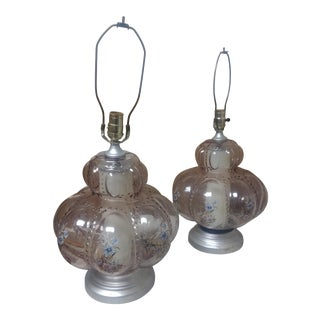 1970's Pink Hand Painted Lamps- 2 Piece For Sale