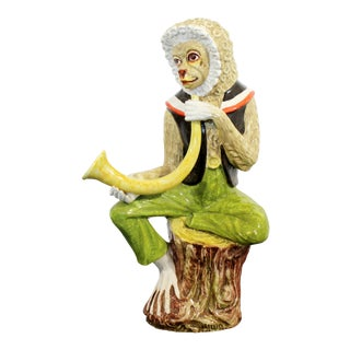 Mid-Century Modern Ceramic Seated Monkey Table Sculpture, Italy 1960s For Sale