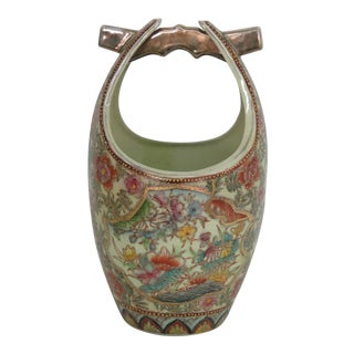 Vintage Mid Century Asian Porcelain Floral Pattern Water Well Bucket Decorative Pail Vase For Sale