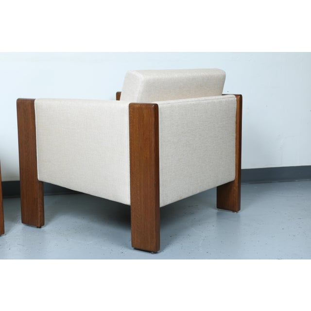 Walnut pair of Cubed Lounge Chairs - Image 7 of 10