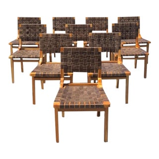 Woven Leather Dining Chairs - Set of 10 For Sale