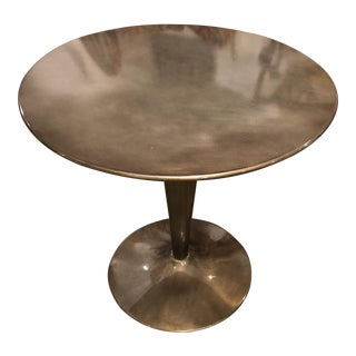Round Gun Metal Pedestal Cafe Table