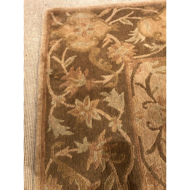 Silk Neutral Luxurious Silk Tibetan Area Rug- 6′2″ × 8′11″ For Sale - Image 7 of 10