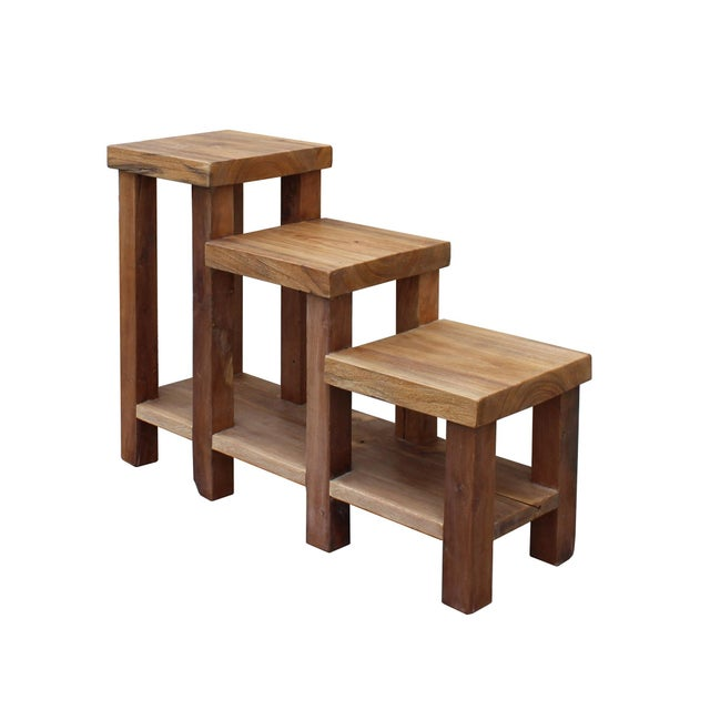 Chinese Rustic Thick Light Wood Step Shape Side Table Plant Stand For Sale - Image 4 of 6