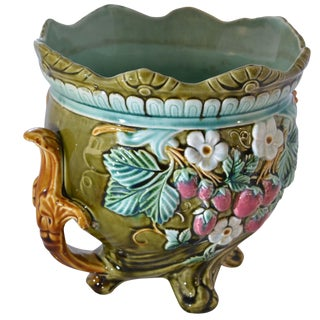 Antique Onnaing Majolica Jardiniere With Strawberry Accents For Sale