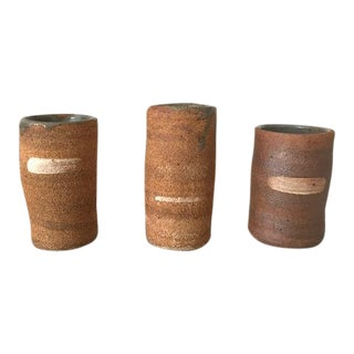 Vintage Stoneware Sake Shot Glasses or Bud Vases - Set of 3 For Sale