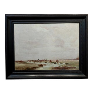 "John Stanton ""Clam Digging in a California Beach"" Oil Painting, 19th Century For Sale"