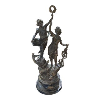 Spelter Statue Table Lamp For Sale