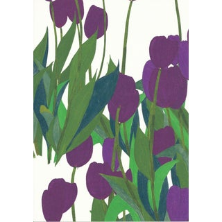 In Bloom Wallpaper in Thistle Purple, Sample For Sale