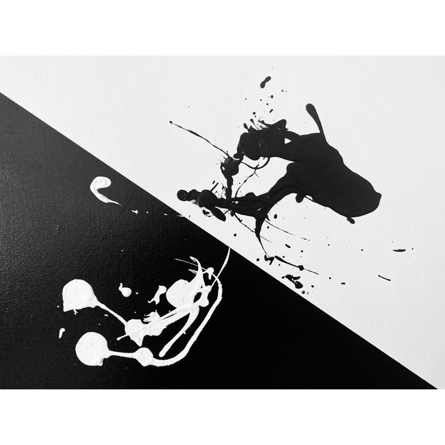"""Abstract Abstract Expressionist Axel Abbott Original Acrylic Painting """"White Slant Splatter"""" For Sale - Image 3 of 5"""