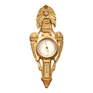 18th Century French Louis XVI Carved Giltwood Wall Barometer For Sale
