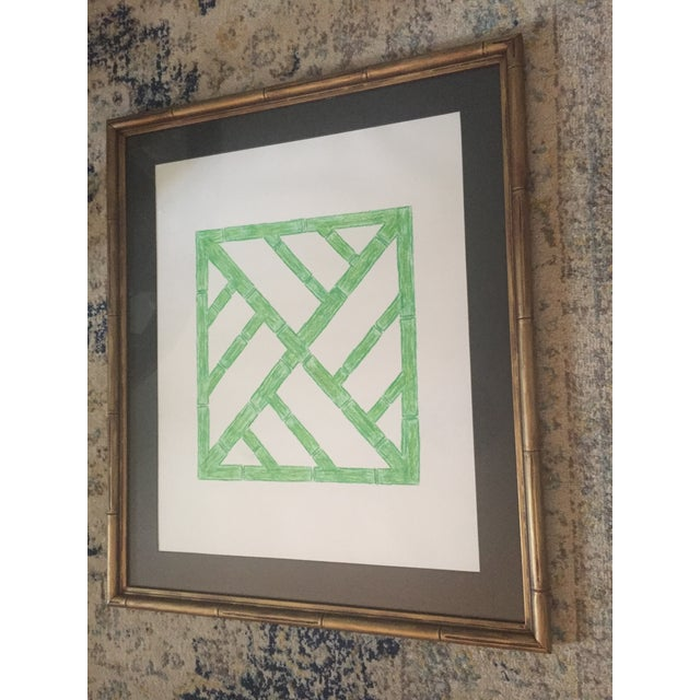Palm Beach Regency Faux Bamboo Framed Trellis Art For Sale - Image 10 of 10