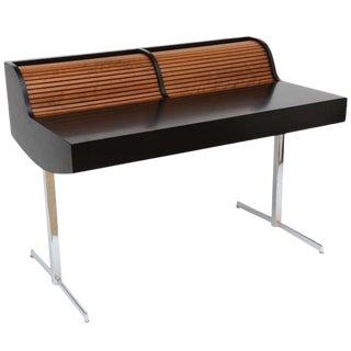 1960s Mid Century Modern George Nelson-Style Rolling Tambour Desk