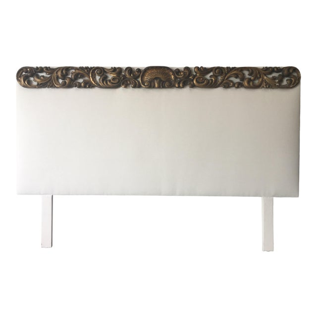 Italian Upholstered Headboard With 19th C Gilt Fragment Accents For Sale