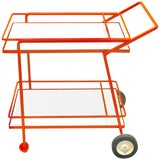 Image of Midcentury Iron and Lacquered Bar Cart in the Manner of Richard Schultz For Sale