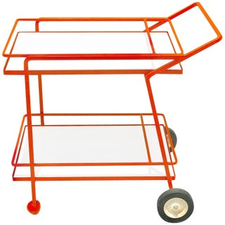 Midcentury Iron and Lacquered Bar Cart in the Manner of Richard Schultz For Sale