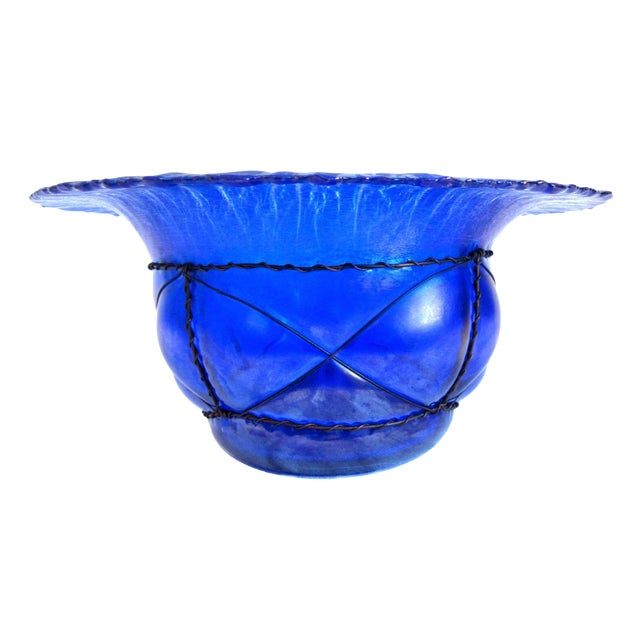 Metal Caged Iridescent Blue Glass Bowl - Image 1 of 6
