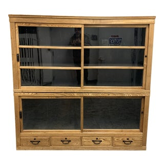 Late-19th Century Antique Asian Medicine Two-Piece Cabinet For Sale