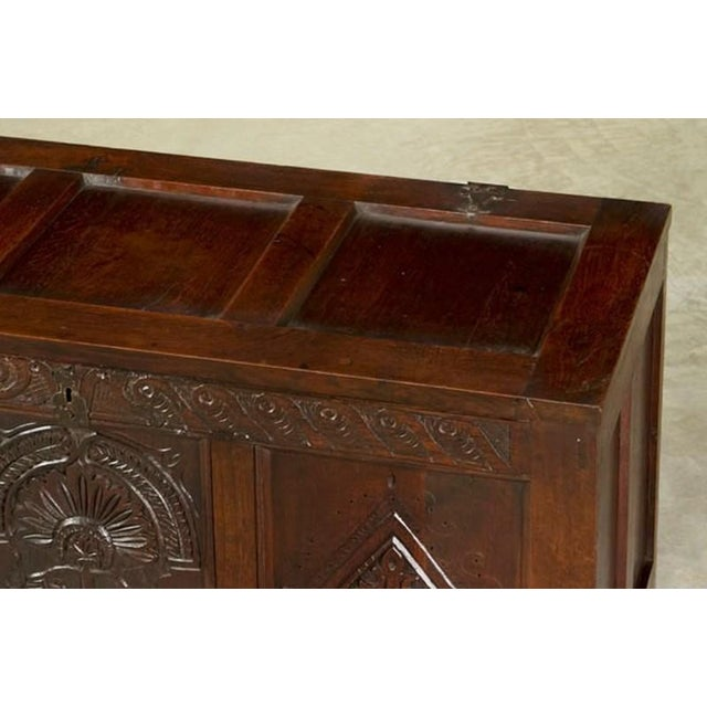Antique English Oak Trunk Coffer circa 1850 For Sale In Houston - Image 6 of 7