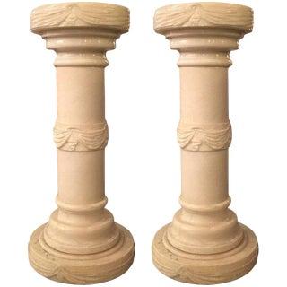 Electrified Alabaster Columnar Pedestals - a Pair