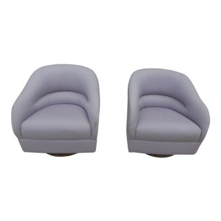 1970s Mid-Century Modern Brickell Associates Ward Bennett Fat Comfy Swivel Club Chairs - a Pair For Sale