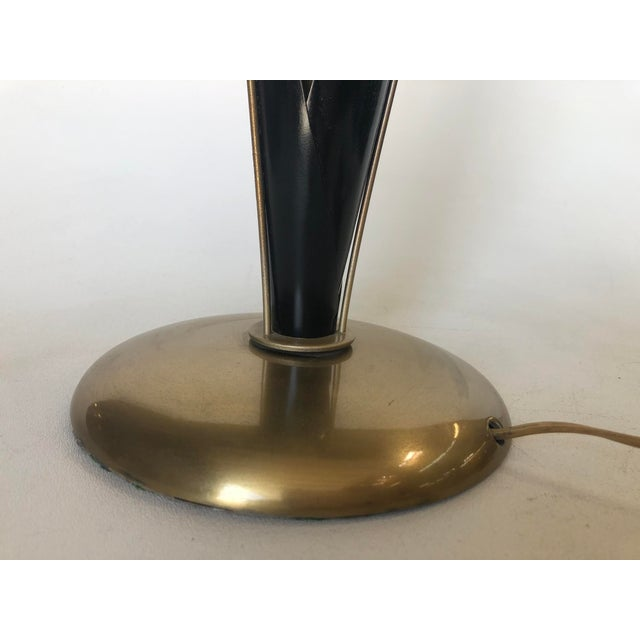Pair of Mid Century Brass and Black Metal Willow Table Lamps For Sale In Los Angeles - Image 6 of 11