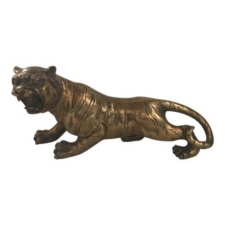 Hollywood Regency Gold Brass Tiger Statue