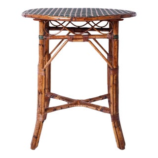 Round Original Paint Rattan Table For Sale