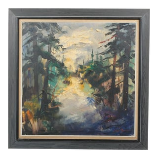 Expressionist Pine Forest During Sunrise For Sale