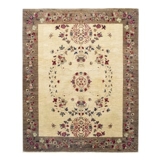 Patterned & Floral Handmade Area Rug - 8 X 10 For Sale