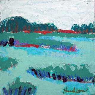 """Square Marshscape 2"" Contemporary Abstract Landscape Mixed-Media Painting by Hannah Lane For Sale"