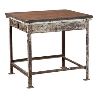 Iron Industrial Work Table For Sale