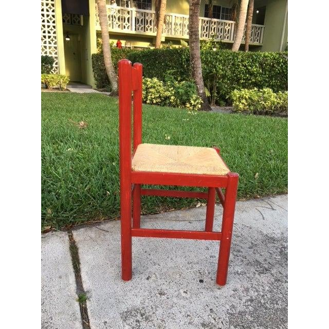 Rustic 1970s Vintage Red Wood Chair For Sale - Image 3 of 5