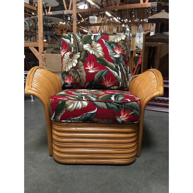 Rattan Fan Arm Lounge Chair With Ottoman Set For Sale - Image 4 of 9
