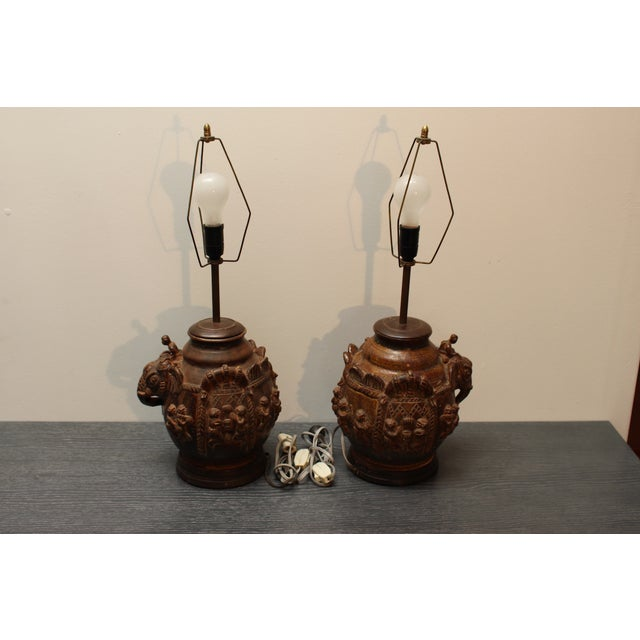 East Indian Elephant Lamps- A Pair For Sale - Image 9 of 11