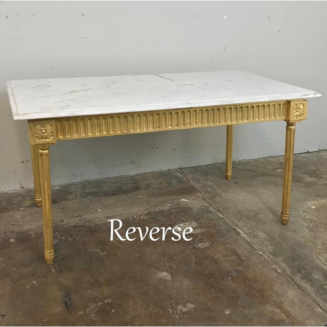 Antique French Louis XVI Gilded Marble Top Coffee Table For Sale - Image 4 of 11