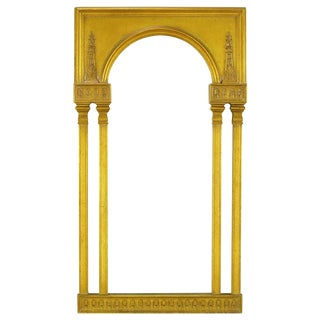 Tall Open Double Column Gilt Neoclassical Style Mirror For Sale