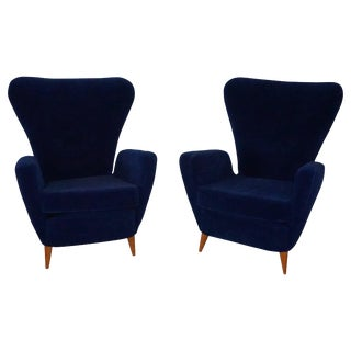 20th Century Paolo Buffa Dark Blue Velvet Lounge Chairs - a Pair For Sale