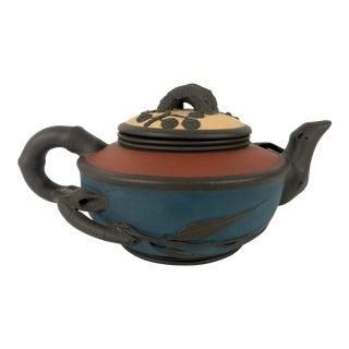 YiXing Zisha Three Tone Chinese Plum Flower Tea Pot, Signed and Marked / Stamped For Sale