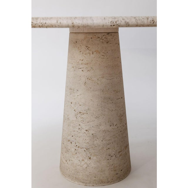 Mid-Century Modern Round Travertine Table Attributed to Angelo Mangiarotti For Sale - Image 3 of 12