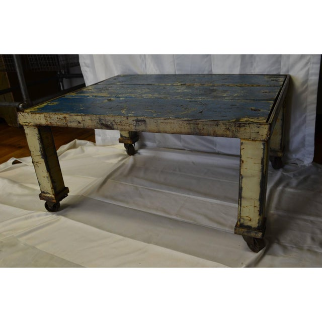 Worn Blue-Painted Coffee Table - Image 2 of 7