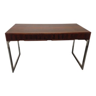 Rosewood and Chrome Desk Mid-Century Modern For Sale